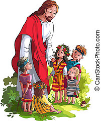 Jesus With Children. No gradients. Isolated on white background. Various components are grouped separately