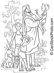 Jesus With Children outlined - Vector christian...