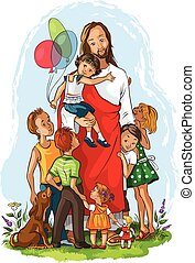 Jesus with children - Vector illustration