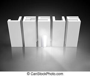 Jesus with open door - Jesus text with glowing open door