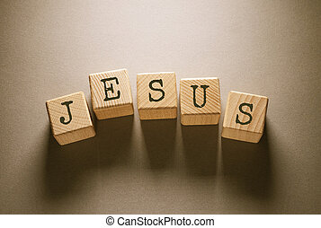 Jesus Word with Wooden Cubes