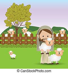 jesuschrist design over landscape background vector illustration