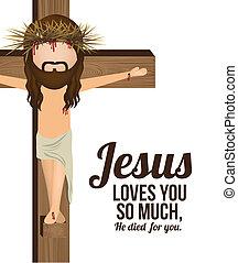 Jesuschrist design over white background, vector illustration
