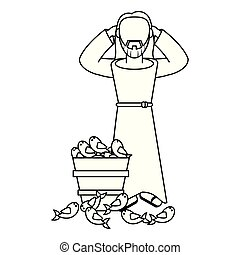 jesuschrist man cartoon in black and white faceless