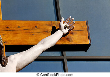 Jesus's Arm and Hand on the Cross - Portion of a Jesus...