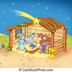 Jesus's birth - colored illustration of the birth of Jesus...