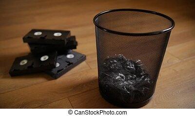 jeté, cassettes., inutile, vhs, dehors
