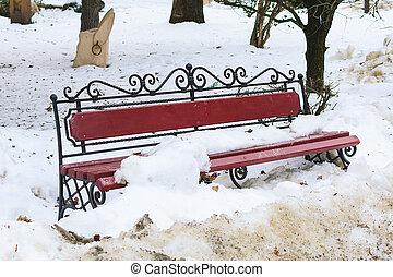 jeté, dégel, métal, parc, neige, banc, bois, forgé, pendant