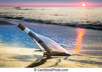 jeté, message, bouteille, mer