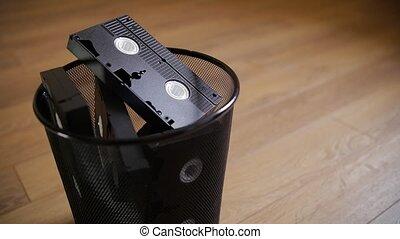 jeté, trash., vhs, cassettes, tas