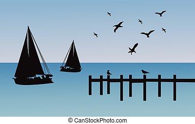 jetée, bateau, silhouette