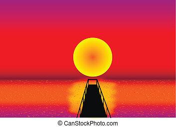 jetée, coucher soleil