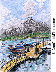 jetée, illustration-lakeside