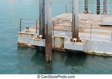 jetée, ponton, ou, bateau, littoral
