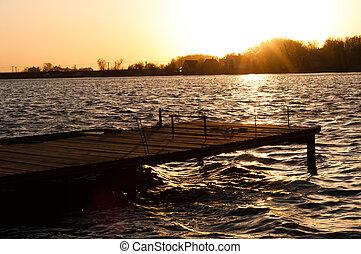 jetée, rivage, coucher soleil