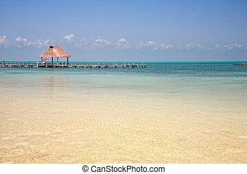 jetée, sur, les, isla, contoy, mexique