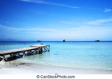 jetée, sur, plage