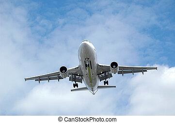 jet aircraft landing - large jet aircraft on final landing...