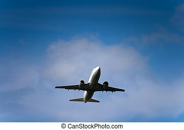 Jet airliner against cloudy sky