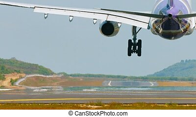 Jet Airliner with Two Engines Lands Safely at Phuket International Airport in Thailand
