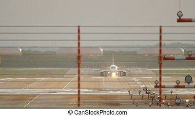 Jet airplane departure - Jet airplane accelerate before...