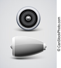 Jet airplane engine turbine front side view. Air blade fan, power engine of aircraft
