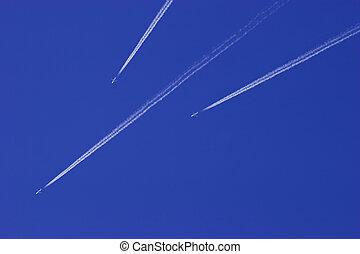 jet, airplane, in, blåttsky