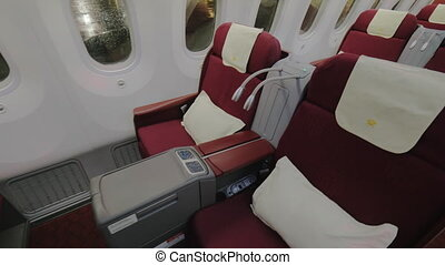 Jet airplane interior view business class - Medium shot of a...