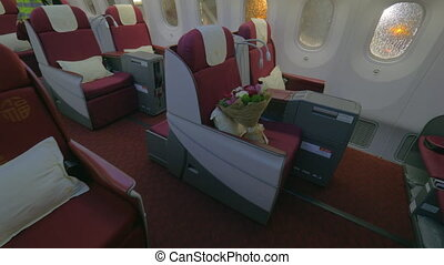 Jet airplane interior view first class - Wide shot of a jet...