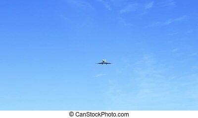 Jet airplane landing close-up