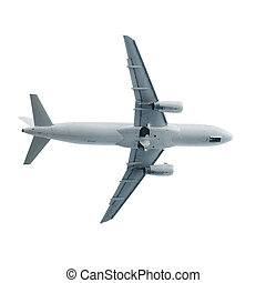 Jet airplane landing in white sky - Jet airplane fly...