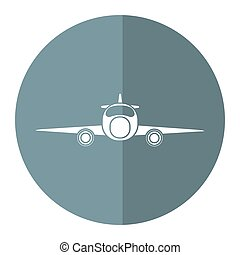 jet airplane private transport front view gray circle