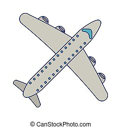 jet airplane symbol isolated blue lines