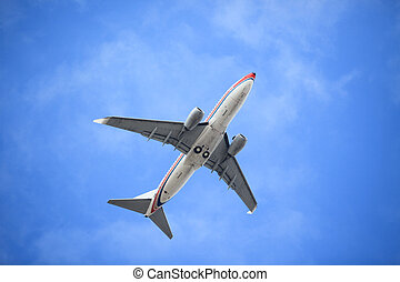 jet airplane - the airplane on the blue sky background.