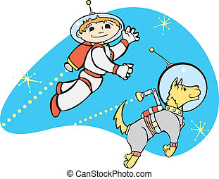 Jet Boy and Dog - Retro boy in jet pack flies through space...