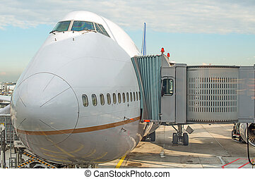Jet bridge docked the plane at the airport.