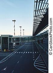 Jet bridge for airplane passenger boarding at early morning