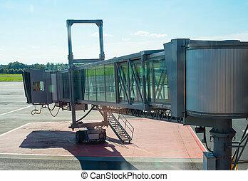 Jet bridge from an airport terminal gate.