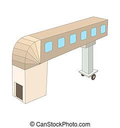 Jet bridge icon, cartoon style - icon in cartoon style on a...