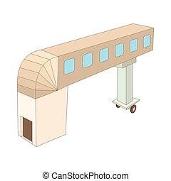 Jet bridge icon, cartoon style