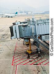 Jet bridge - Airplane passenger  boarding bridges at airport