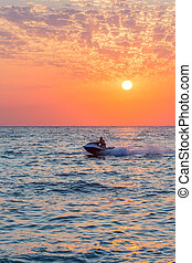 jet, coloré, coucher soleil, équitation, ski, homme
