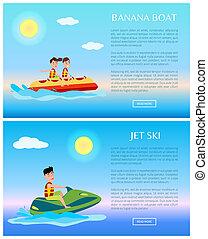 jet, coloré, illustrations, ski, banane, bateau