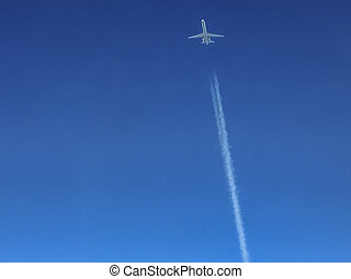 Jet Contrails - Jet Aircraft Leaving Contrails At Cruise...