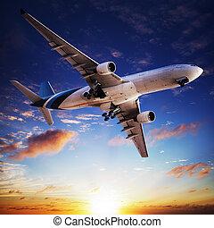 Jet cruising at sunset