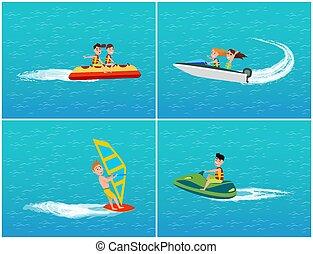 jet, eau, vecteur, bateau, ski, banane, transport