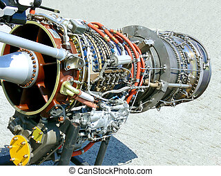 An open jet engine from a fighter jet in Hamilton Ware plane Museum.