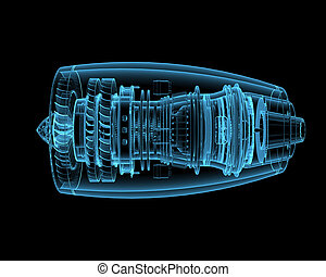 Jet engine (3D x-ray blue transparent isolated on black)