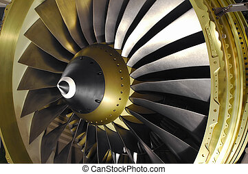 close-up of a large jet engine turbine blades