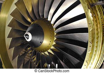 jet engine blades - close-up of a large jet engine turbine...